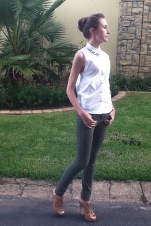 Jay Jays shirt - Woolworths pants - stone SASS DIVA accessories - Zoom heels
