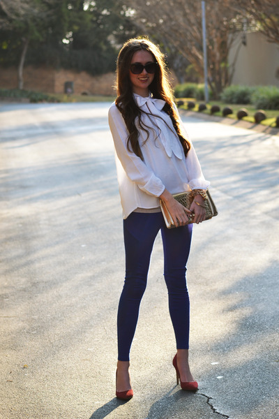 Zara blouse - Mr Price leggings - Forever New bag - Woolworths heels