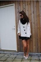 white coat - black dress