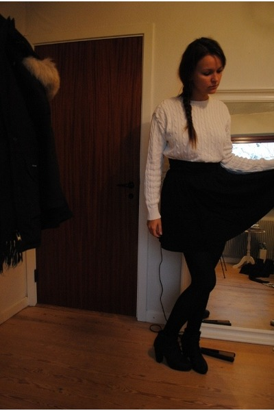 white sweater - black skirt