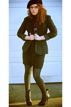 black Mossino blazer - black Delicious shoes - black Forever 21 skirt