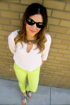 neon green Love Fire jeans - Ray Ban sunglasses