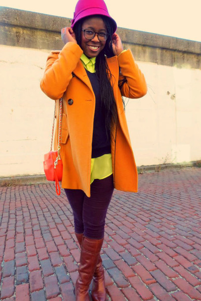 cloche Target hat - pea coat Jessica Simpson coat - American Apparel sweater