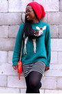 Red-beanie-asos-hat-teal-animal-motif-peter-jensen-sweater