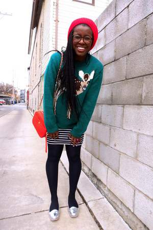 teal animal motif Peter Jensen sweater - red beanie asos hat