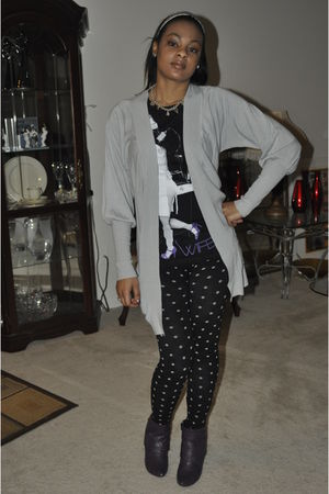 black Forever 21 necklace - gray Urban Behaviour cardigan - black Metro Park USA