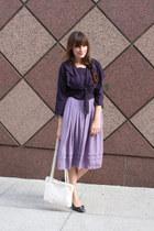 navy vintage Ferragamo shoes - white vintage bag - violet vintage skirt