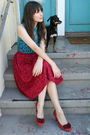 Vintage-worn-as-top-dress-vintage-skirt-anthropologie-shoes