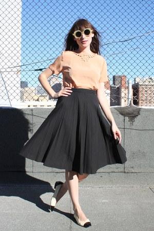 vintage sunglasses - vintage skirt - vintage Ferragamo flats