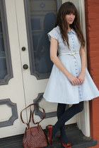 vintage dress - vintage Ferragamo shoes - vintage bag - J Crew belt