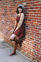 vintage dress - Anthropologie hat - tabbisocks socks - vintage blouse