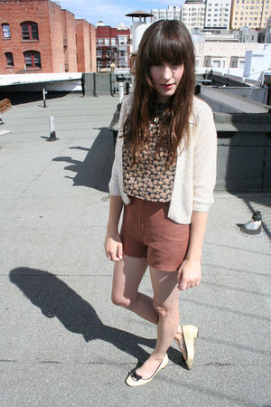 flea market blouse - loeffler randall shoes - thrifted shorts