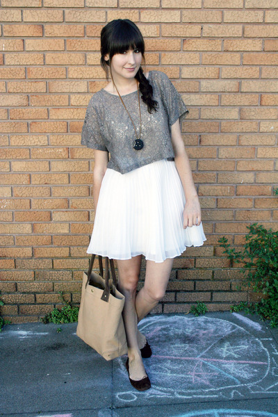 vintage necklace - J Crew shoes - J Crew - H&M top - vintage skirt