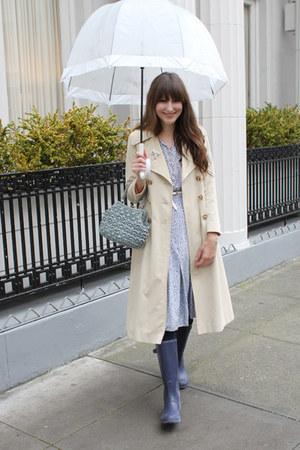 thrifted coat - piperlime boots - vintage dress - vintage bag