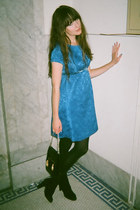 vintage dress - J Crew shoes - vintage bag