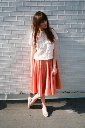 loeffler randall flats - vintage skirt - vintage blouse