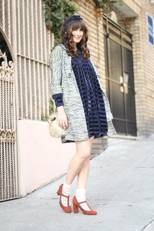 asoscom dress - vintage coat - vintage bag - Urban Outfitters socks