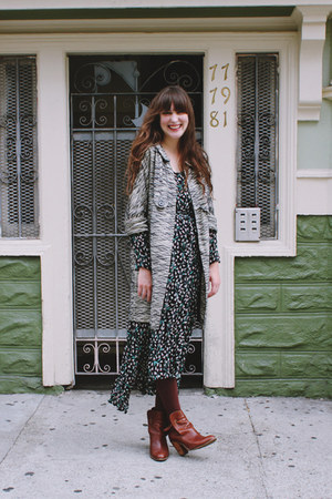 vintage dress - Anthropologie boots - vintage coat