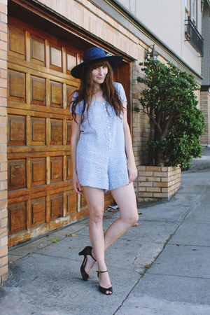 thrifted romper - vintage hat - fletcher by lyell heels