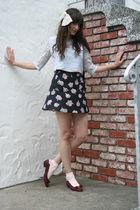 vintage blouse - vintage skirt - Urban Outfitters socks - vintage Ferragamo shoe