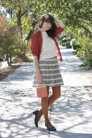thrifted blouse - vintage top - vintage skirt - vintage shoes - vintage purse