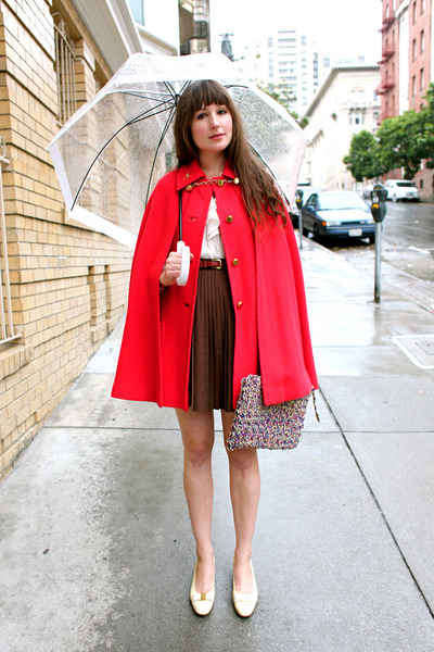 vintage cape - thrifted skirt - vintage blouse - vintage Ferragamo flats