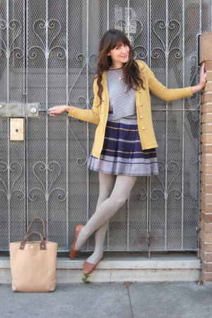 vintage cardigan - thrifted shoes - J Crew bag - vintage skirt - thrifted top
