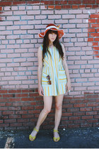 vintage hat - Anthropologie sunglasses - vintage romper - seychelles sandals