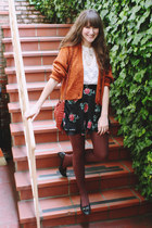vintage bag - vintage skirt - thrifted blouse - thrifted cardigan