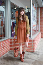 madewell dress - Anthropologie boots - vintage bag - J Crew cardigan