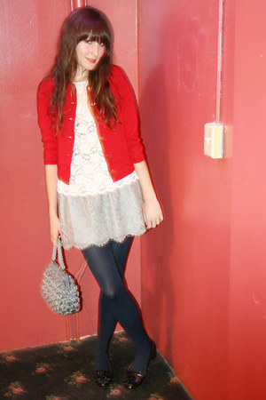 J Crew skirt - Zara shoes - vintage bag - vintage top - vintage cardigan