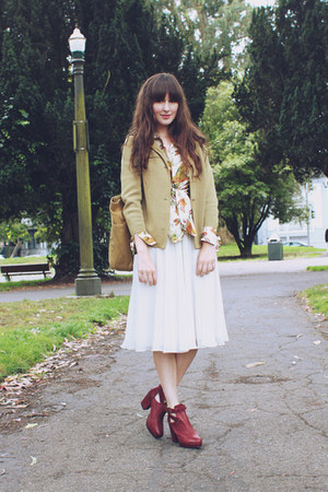 thrifted skirt - Topshop boots - Filson bag - vintage blouse - vintage cardigan