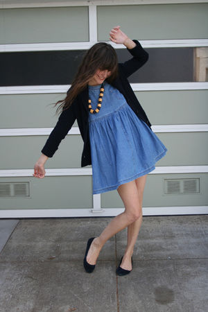 J Crew cardigan - J Crew shoes - thrifted dress - thrifted necklace