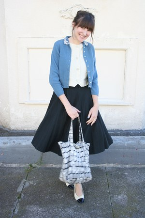 vintage cardigan - vintage top - vintage skirt - vintage Ferragamo shoes
