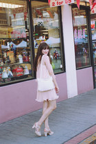 light pink H&M dress - white vintage bag - white Chelsea Crew heels