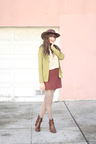 vintage hat - Zara boots - Topshop tights - vintage top - vintage cardigan