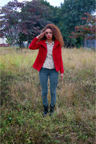 red coat - black Bakers boots - dark khaki blouse - army green Converse pants