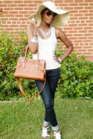 LVLX jeans - tan Forever 21 hat - brown Forever 21 bag - creme Target top - crem