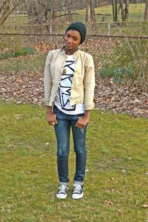 dark denim Refuge jeans - fitted beanie RVCA hat - khaki ny&c jacket
