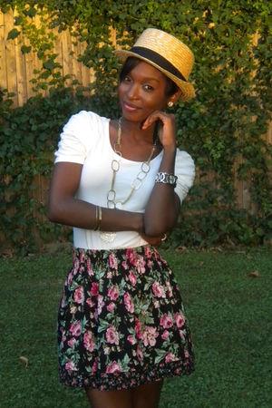 white The Limited shirt - black Charlotte Russe skirt - beige Forever 21 hat
