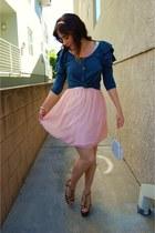 light pink ballerina kohls dress - ivory beaded vintage bag