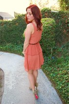 light orange peplum modcloth dress - camel leopard studded Betsey Johnson boots