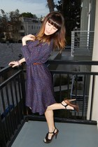 black velvet Steve Madden heels - navy ruffle vintage dress
