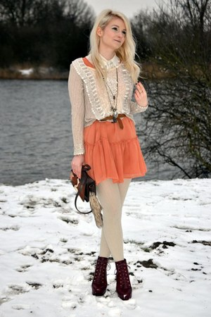 cream exit sweater - Topshop boots - burnt orange H&M dress - dark brown H&M bag