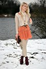 Topshop-boots-burnt-orange-h-m-dress-cream-exit-sweater-dark-brown-h-m-bag