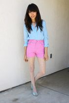 pink vintage shorts - green shoes - blue BDG shirt - white stockings