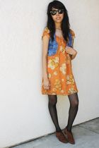 brown vintage Perry Ellis shoes - orange Forever 21 dress