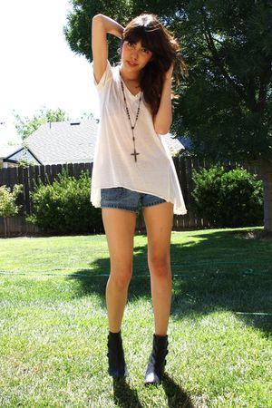 black ankle boots - white tissue thin f21 shirt - blue teeny tiny BDG shorts