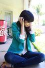 Green-silence-noise-blazer-blue-bdg-jeans-brown-thrifted-belt-cynthia-vin