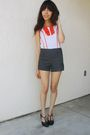 White-richard-chai-for-target-blouse-gray-forever-21-shorts-brown-thrifted-s